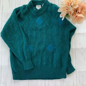 Vintage Together Teal High Neck Sweater